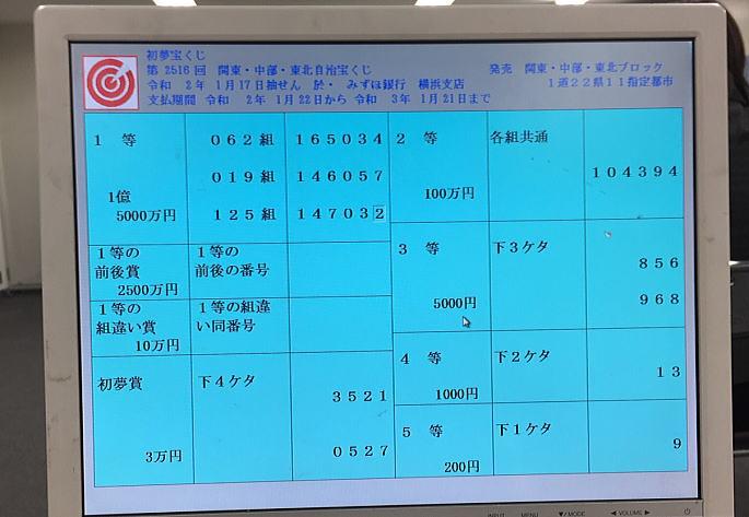 東京都宝くじ2454回