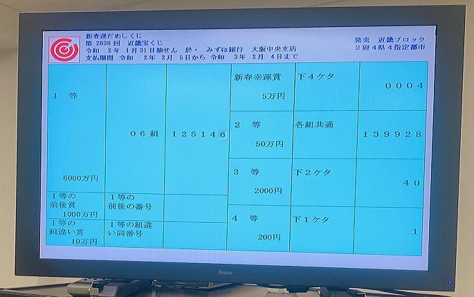 宝くじ 2020 当選 番号
