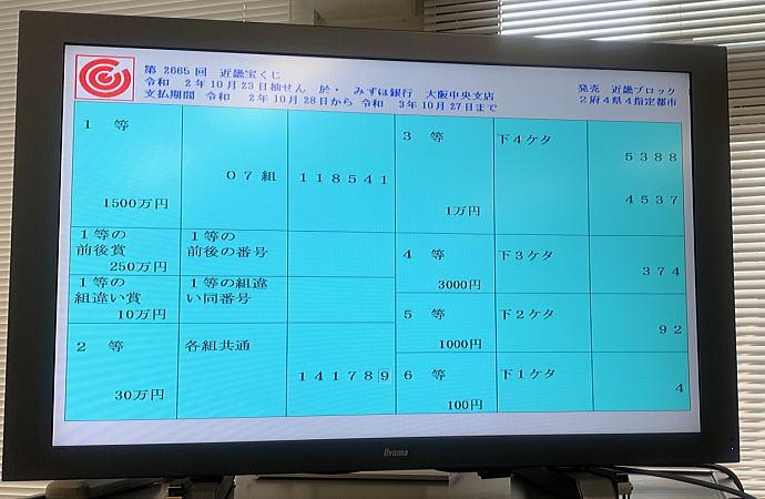 宝くじ 2673 近畿